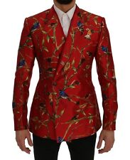 Dolce & Gabbana Blazer Jacket Red Bird Print Silk Slim It48 / Us38 /m