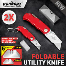 2Pc Folding Utility Knife Aluminium Handle & 10 Spare Stanley Blades Craft New