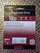 USB 2.0 Flash Drive 16GB Toshiba Flash Memory New White