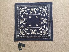 new polo ralph lauren navy and ivory floral silk square scarf rrp £75