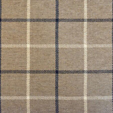 "54"" Wide Drapery Upholstery Plaid Chenille Fabric Navy/Taupe By the Yard"