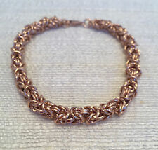 Handmade Chainmaille Rose Gold Filled Byzantine Bracelet with a Twist. 8 In