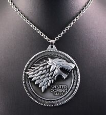 Alloy 3D Game of Thrones Stark Dire Wolf Pendant Chain w/Free Jewelry Box/Ship