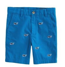 NWT VINEYARD VINES Sz14 BOY'S WHALE EMBROIDERED SOLID BREAKER SHORTS BLUE
