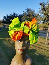 Lemon & Orange Head wrap;GreenAfrican Headwrap;African Clothing; African Fabric