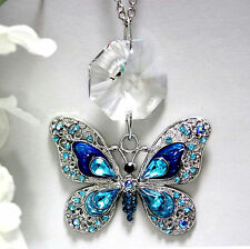 Big Aqua Studded Sparkly Butterfly + Swarovski Crystal 28mm Octagon Suncatcher