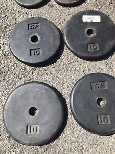 """4x 10lb CAP Standard size pancake 10 lb Weight Plates 1"""" hole used black weights"""