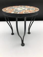 Vintage boho retro handmade small wrought iron mosaic plant stand table