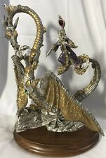 """1991 Masterworks Pewter LE - 10"""" GUARDIAN OF THE CRYSTAL - MINT -Dragon & Wizard"""