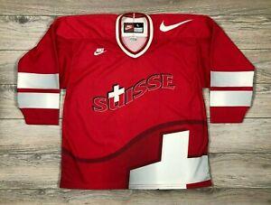 Switzerland Suisse Nike Vintage Ice Hockey Jersey Shirt Trikot Rare size L