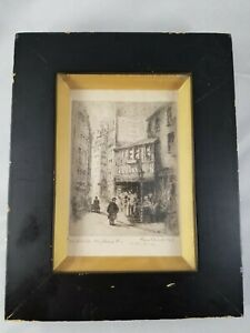 1917 Paris Drawing / Print Framed Signed by Artist To Miss Darrah