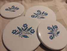 Vintage Set Reston Lloyd Cast Enamel Stove Burner Covers Corning Ware white blue