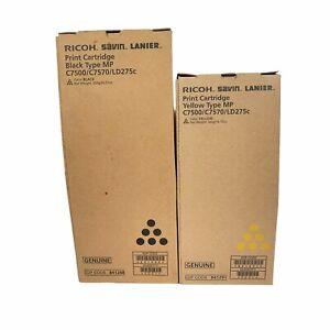 Genuine Ricoh C7500/C7570/LD275c Toner Print Cart Black 841288 Yellow 841291 NEW