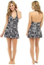 Ladies new palm print halter neck swim dress with tummy control sizes 10 to 22