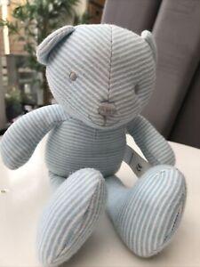 M&S Blue Striped Teddy Bear Soft Toy 8224 Plush Comforter Marks & Spencer 27cm❤️