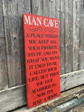 "Large Rustic Wood Sign - ""Man Cave . . ."" - Free Color Customization!"