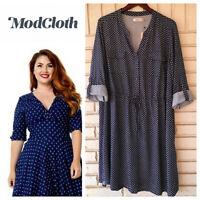 NEW Modcloth Sunny Girl Shirtdress Dress 3X 22 24 Blue Floral Tab Slv.   #2