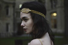 Gold Great Gatsby Flapper Headband 1920s Headpiece Hair Band Vintage Deco X-81