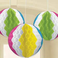 3 Tropical Luau Summer Party Hanging Paper Beach Ball Honeycomb Decorations