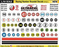 MG-6100-1 1/64 High Def UltraCal Racing Decals Number Roundel Decals Style 1
