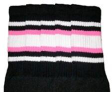"25"" KNEE HIGH BLACK tube socks w/ WHITE/BUBBLEGUM PINK stripes style 4 (25-52)"