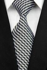 Regalos Para Hombres Clásico Para hombres Corbata Seda Mini Zig Zag Rayas Trabajo Corbata Negro Gris