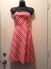 Ann Taylor Petites Cocktail Party Dress Pink Stripes Size 4P Strapless