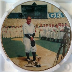 """Lou Gehrig """"The Luckiest Man"""" Numbered Plate + Baseball Card Vintage 1993"""
