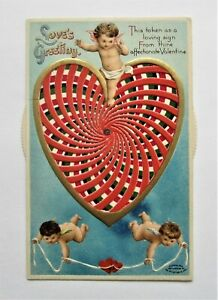 Exceptional Kaleidoscope MECHANICAL VALENTINE Heart & ANGELS Novelty Postcard