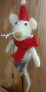 Mr MOUSE knitted scarf & Santa hat CHRISTMAS TREE DECORATION boiled wool NEW