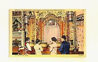 Vtg Postcard CHINATOWN San Francisco, CA Joss House Tin How Temple Unused Linen