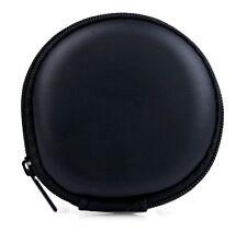 Mens Ladies Round Key Money Coin Headset Headphone Earbud Wallet Zip Purse Black
