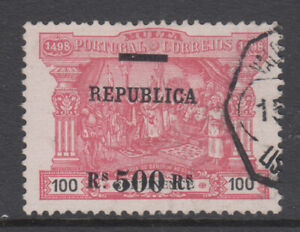 Portugal Sc 198 Postage Due Surcharged 500r on 100r Carmine on pink VF Used