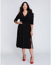 LANE BRYANT PLUS SIZE Matte Jersey Faux Wrap Dress BLACK 22/24