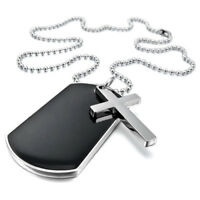 """Alloy Pendant Necklace Black Silver Cross Dog Tag plate Army Style 23"""" Z6F6 D3O7"""