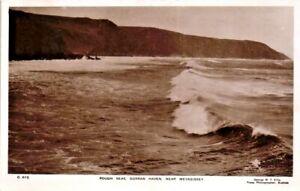 Cornwall Real Photo Postcard Rough Sea Mevagissey C1935 George W F Ellis #C612