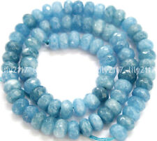 "Natural 5x8mm Faceted Blue Aquamarine Gemstone Abacus Loose Beads 15"" Strand AAA"
