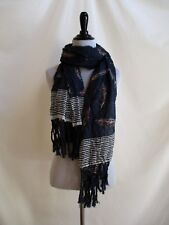 Abercrombie & Fitch Navy Blue Crinkle Scarf Tassel Edge Feathers Stripes
