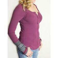 NWT FREE PEOPLE Newbie Ski Lodge Cuff Thermal Top Gypsy Violet Combo. Size L