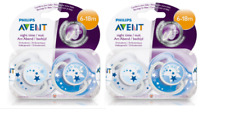 Philips Avent Night-Time Soothers 6-18m  (2PACK, 4 SOOTHERS)