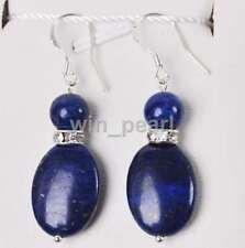 Natural Blue Egyptian Lapis Lazuli Oval Beads Hook Earrings AAA Grade