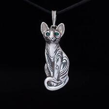 Sphynx Cat Pendant, sterling silver, handmade