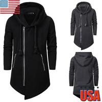 Men's Gothic Parka Jacket Side Zip Winter Warm Hooded Sweater Coats Outerwear US