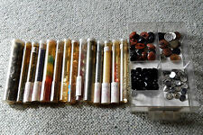 Gorgeous Selection of Vintage Old Buttons in Tubes - Job Lot for Sewing Craft