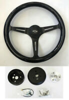 "60-69 Chevrolet Pick Up Steering Wheel Black Wood on Black 15"" with Bowtie cap"