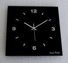 Design Funk Wanduhr schwarz Glas Chrom Zahlen silber Wohnzimmeruhr Büro Küche
