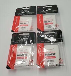 Reach Cinnamon Cleanburst Dental Floss  4 packs Reach  Waxed floss New