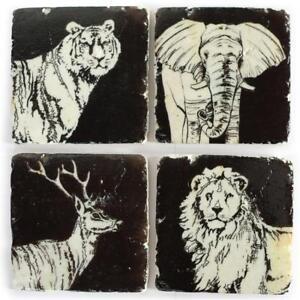 4er Set Glasuntersetzer Untersetzer Stone Coaster WILD ANIMALS Tiermotiv Kork...