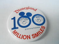 VINTAGE PROMO PINBACK BUTTON #97-103 - DISNEYLAND 100 MILLION SMILES
