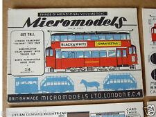 1953 VINTAGE Micromodels Set TR1 Londra Metropolitana Tram Auto Da-deason 2/6d